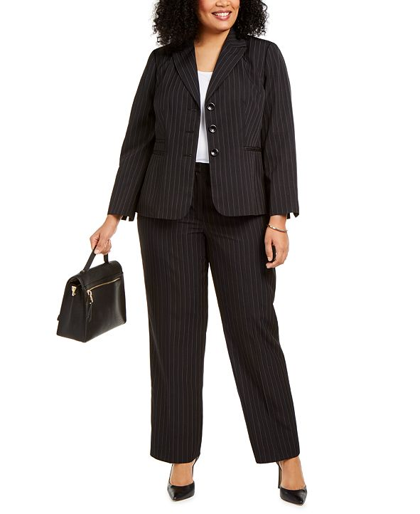 Le Suit Plus Size Pinstriped Pantsuit