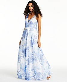 Juniors' Sequined Floral-Print Gown