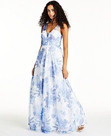Trixxi Juniors' Sequined Floral-Print Gown