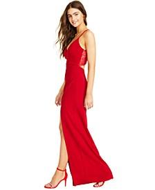 Juniors' Lace-Back Dress
