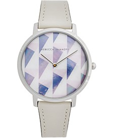 Women's Major Optic White Leather Strap Watch 35mm