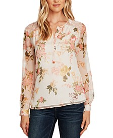 Floral-Print Lace-Trim Top
