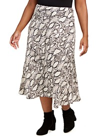 Plus Size Snake-Print Midi Skirt, Created for Macy's