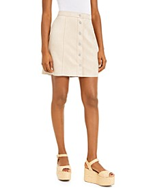 Faux-Suede Button-Front Mini Skirt, Created for Macy's