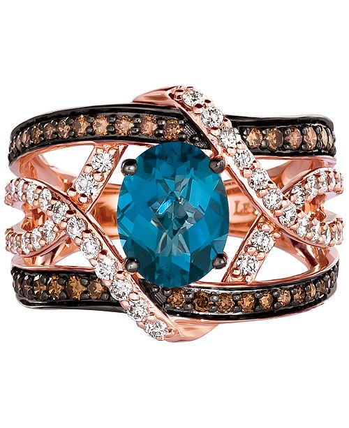 Le Vian Chocolatier® Deep Sea Blue Topaz (1-3/4 ct.-t.w.) and Diamond (1 ct. t.w.) Ring in 14k Rose Gold