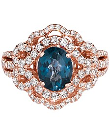Deep Sea Blue Topaz (1-3/4 ct. t.w.) & Diamond (7/8 ct. t.w.) Ring in 14k Rose Gold