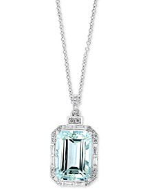 "EFFY® Aquamarine (6-7/8 ct. t.w.) & Diamond (3/8 ct. t.w.) 18"" Pendant Necklace in 14k White Gold"