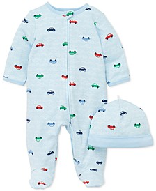 Baby Boys 2-Pc. Cotton Cars-Print Hat & Footed Coverall