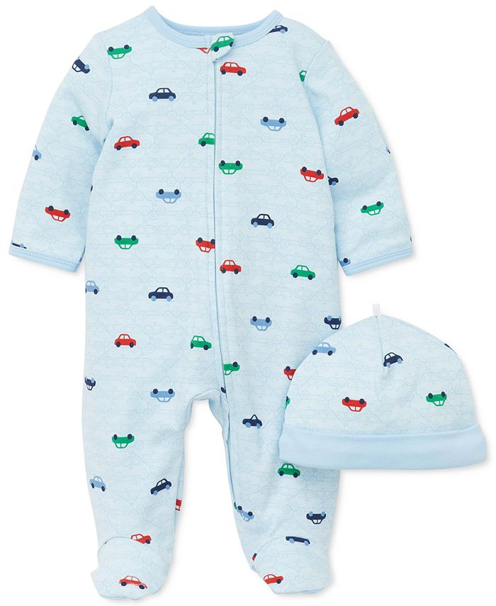 Little Me - Baby Boys 2-Pc. Cotton Cars-Print Hat & Footed Coverall