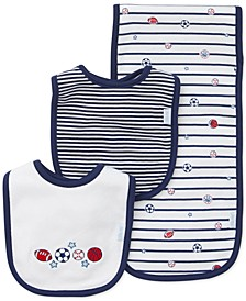 Baby Boys 3-Pk. Sports Star Cotton Bibs & Burp Cloth