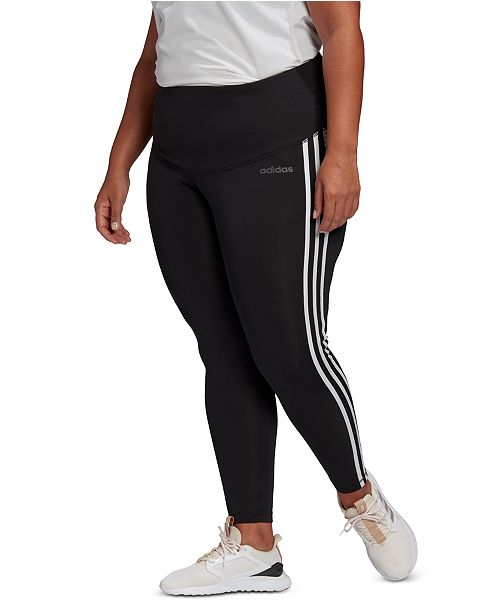 adidas Plus Size Design 2 Move 3 Stripe High-Rise Leggings