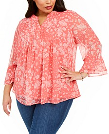 Plus Size Pintuck Blouse, Created For Macy's