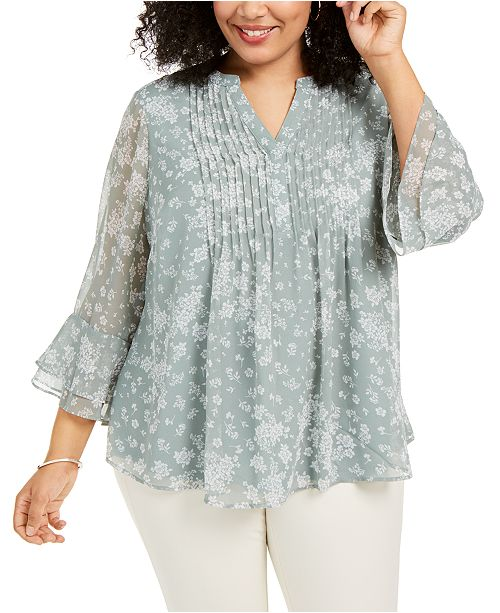 Charter Club Plus Size Pintuck Blouse, Created for Macy's