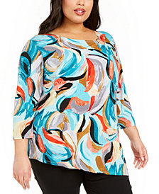 JM Collection Plus Size Abstract-Print Tunic Top