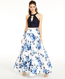 Juniors' Lace Top & Long Floral Skirt