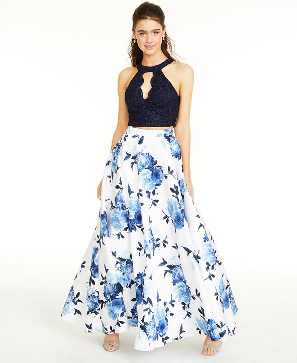 City Studios Juniors' Lace Top & Long Floral Skirt