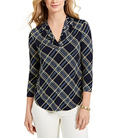 Petite Plaid Ruffled Top, Created for Macy's