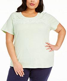 Karen Scott Plus Size Crochet-Trim Top, Created for Macy's