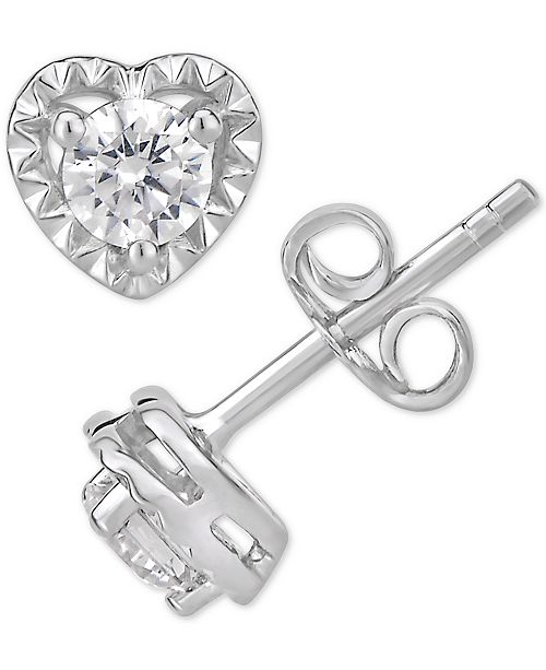 Macy's Certified Diamond Heart Stud Earrings (1/2 ct. t.w.) in 14k White Gold (Also Available in Yellow or Rose Gold)