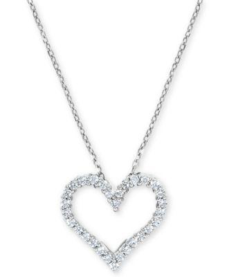 Diamond Heart Outline Pendant 1//6ct 10k White Gold