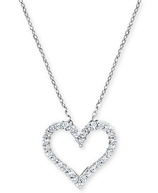 Diamond Heart Pendant Necklace (1/4 ct. t.w.) in 14k White Gold