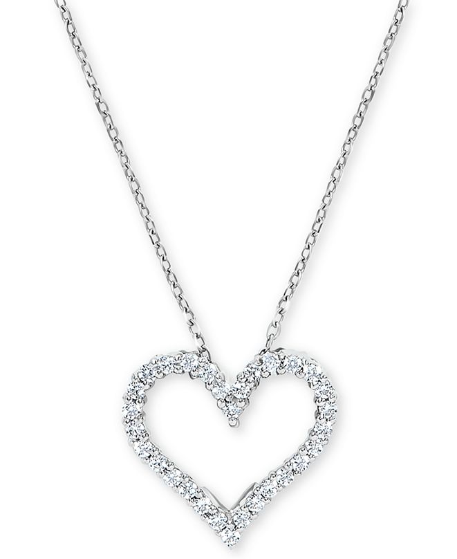Macy's Diamond Heart Pendant Necklace (1/4 ct. t.w.) in 14k White Gold