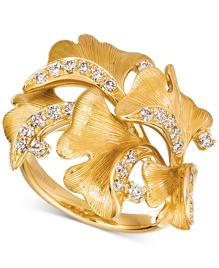 Le Vian - Nude Diamond Sculptured Flower Statement Ring (1/2 ct. t.w.) in 14k Gold