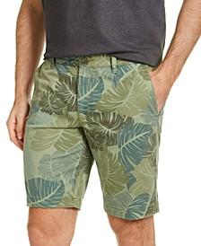 "Men's Camo Fronds Stretch Leaf-Print 10"" Shorts"