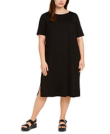 Eileen Fisher SYSTEM Plus Size Round-Neck Shift Dress