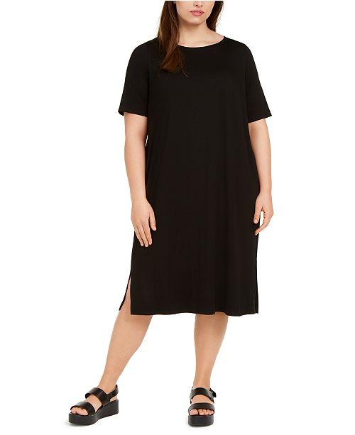 Eileen Fisher Plus Size Round-Neck Shift Dress