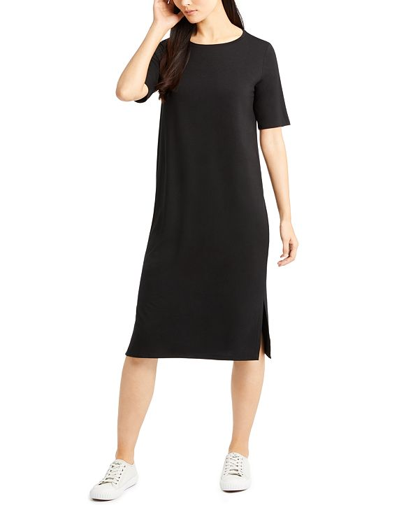 Eileen Fisher Round-Neck Shift Dress,Regular & Petite Sizes