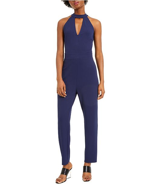 Bar III Keyhole Halter Crepe Jumpsuit, Created for Macy's