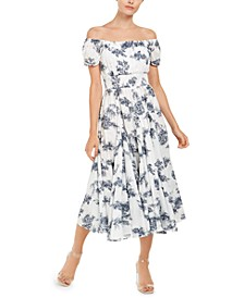INC Toile-Print Off-The-Shoulder Midi Dress, Created for Macy's