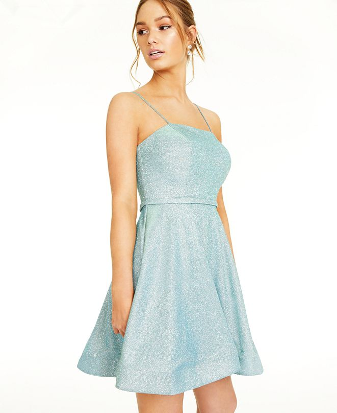 City Studios Juniors' Lace-Up-Back Glitter Dress, Created for Macy's
