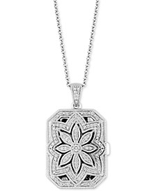 "Diamond Floral Locket 20"" Pendant Necklace (1/4 ct. t.w.) in 14k White Gold"