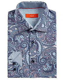 Men's Slim-Fit No-Iron Performance Stretch Paisley Dress Shirt
