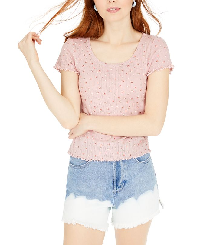 Hippie Rose Juniors' Printed Pointelle-Knit T-Shirt