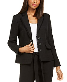 Paris Fringe-Trimmed Tweed Blazer