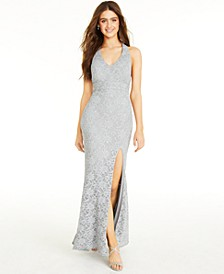 Juniors' Glitter Lace Bow-Back Maxi Dress