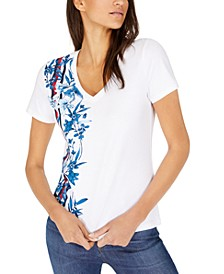 V-Neck Placed-Print Cotton T-Shirt