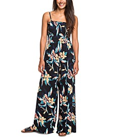 Juniors' Straight To Romantic Floral-Print Jumpsuit