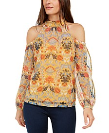 INC Printed Mock-Neck Cold-Shoulder Top, Created for Macy's