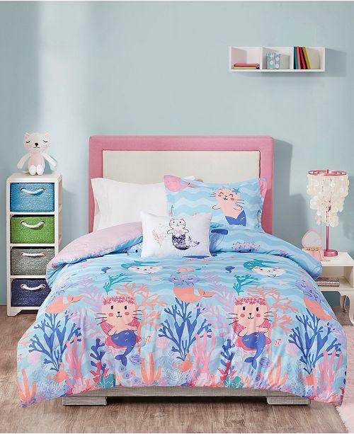 Mi Zone Playful Purrmaids 4-Piece Full/Queen Comforter Set