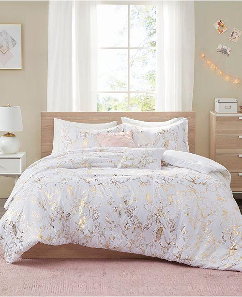 Intelligent Design Magnolia Metallic Floral 4-Piece Twin/Twin XL Comforter Set