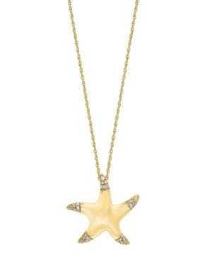 "Diamond (1/10 ct. t.w.) Starfish Pendant 18"" Necklace in 14K Yellow Gold"