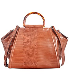 INC Hazell Croco-Embossed Satchel, Created For Macy's