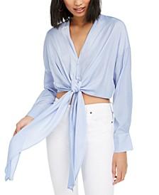 Gloria Cropped Tie-Hem Shirt