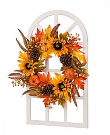 Wooden Window Frame with Sunflower Wreath