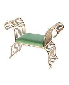 Gold-Tone Metal Accent Armchair with Velvet Seat