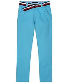 Big Boys David Stretch Blue Pants with D-Ring Logo Belt